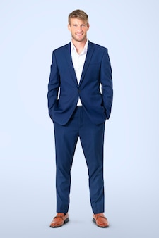 Confident european businessman full body portrait for jobs and career campaign