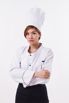 Уверенно женский шеф-повар на белом фоне