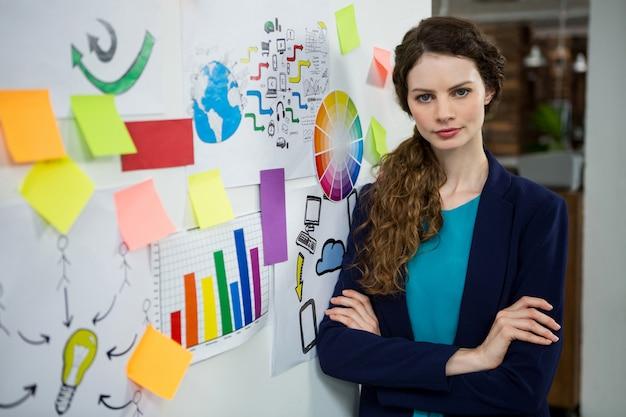 腕を組んでクリエイティブオフィスで自信を持って女性エグゼクティブの地位