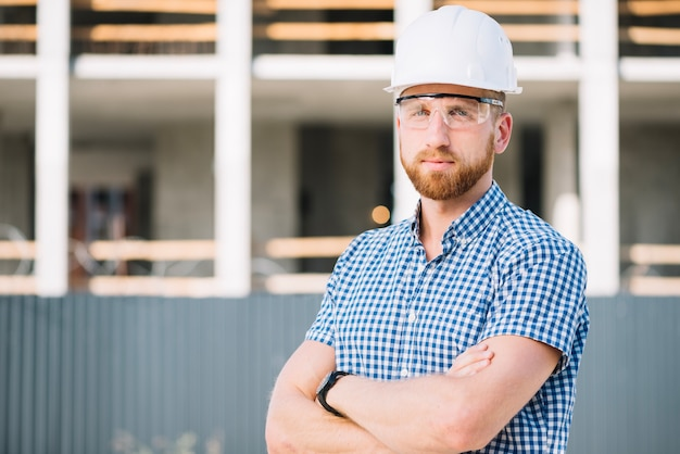 Confident foreman looking at camera