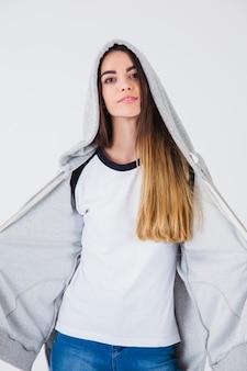 Confident girl with sweatshirt