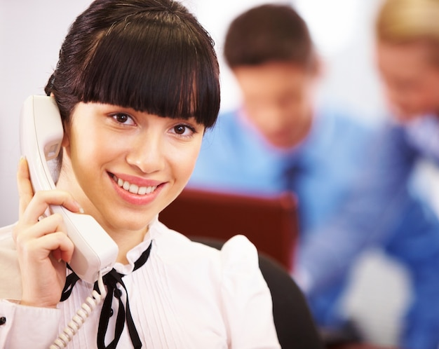 Confident hand leadership businesswoman professional