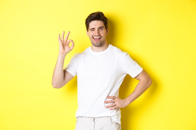 Confident handsome man winking, showing okay sign in approval, like something good, standing over yellow background.