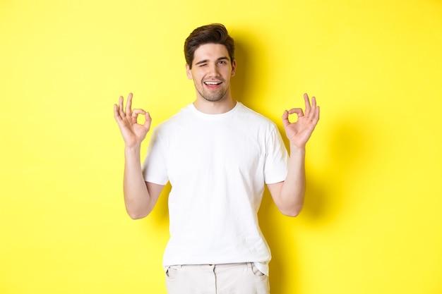 自信を持ってハンサムな男がウィンクし、黄色の背景の上に立って、何か良いもののように、承認で大丈夫な兆候を示しています