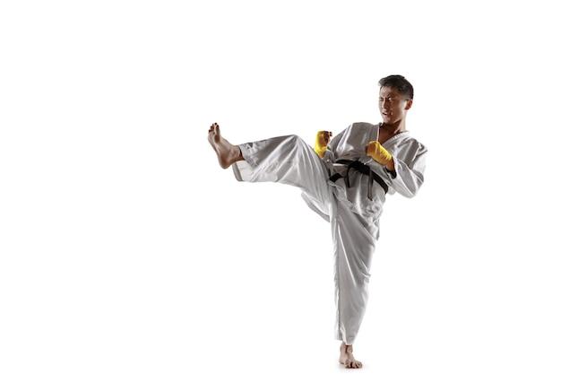 近接格闘術、武道を練習している着物の自信のある韓国人男性。白いスタジオの背景に分離された黒帯の訓練を受けた若い男性の戦闘機。健康的なライフスタイル、スポーツの概念。
