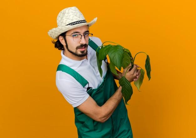 Giardiniere maschio fiducioso in occhiali da vista che indossa il cappello da giardinaggio detiene la pianta