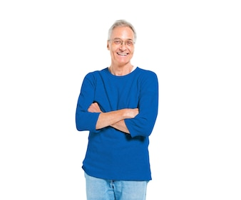 Confident Mature Man Standing with Arms Crossed