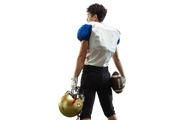 Confident posing american football player isolated on white studio background with copyspace
