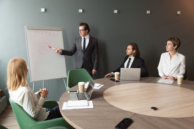 Confident speaker business coach gives presentation to team with flipchart