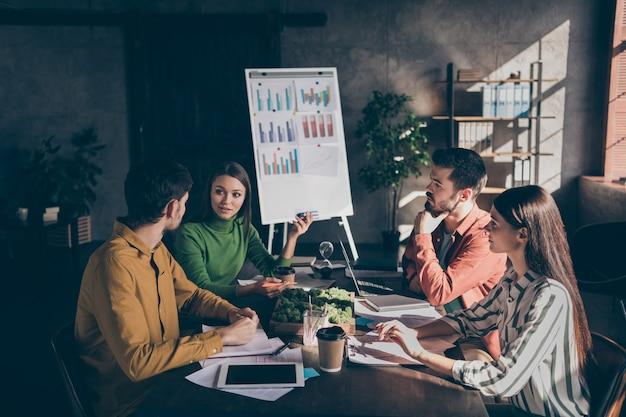 Уверенная команда, обсуждающая возможности увеличения своей прибыли из разных источников, обсуждающая способы ведения бизнеса