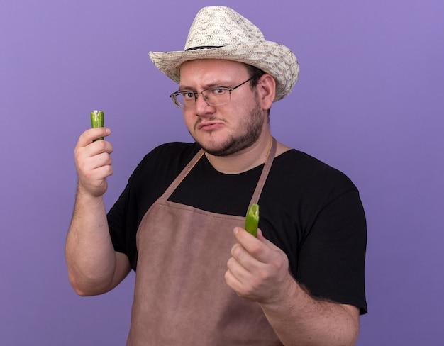 Уверенный молодой мужчина-садовник в садовой шляпе, держащий ломающий перец, изолированный на синей стене