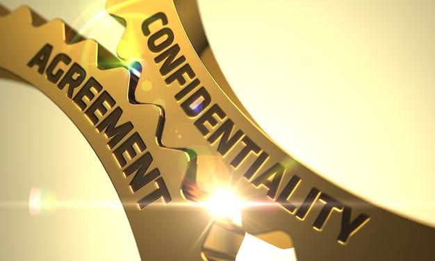 Confidentiality agreement on mechanism of golden metallic cogwheels. golden cog gears with confidentiality agreement concept. confidentiality agreement golden cog gears. 3d.