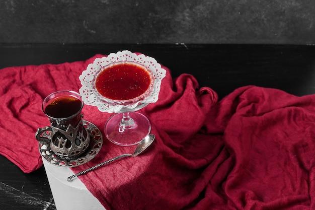 お茶と赤いタオルの上にコンフィチュールスタンド。