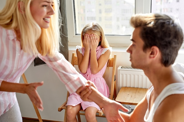 Conflicts within the family in the presence of child girl