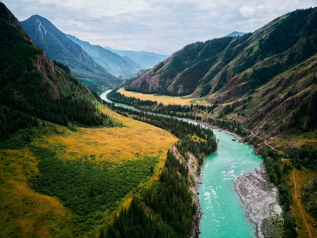 The confluence of mountain rivers - argut and katun.gorny altai russia.
