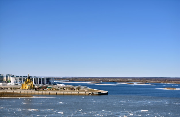 The confluence of the oka and volga rivers