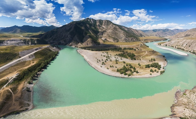 The confluence of two rivers katun and chuya the famous tourist spot in the altai mountains siberia ...