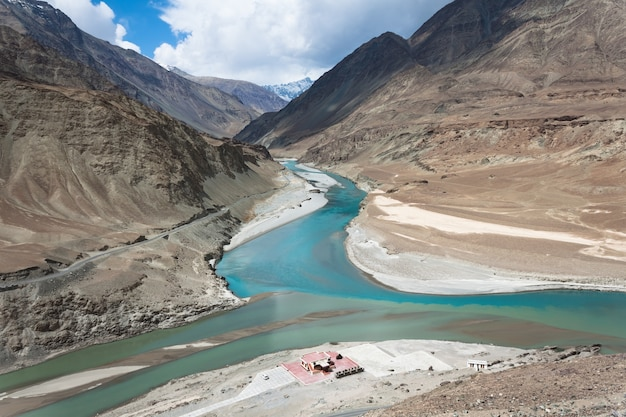 Confluence of zanskar and indus rivers in leh, ladakh, india