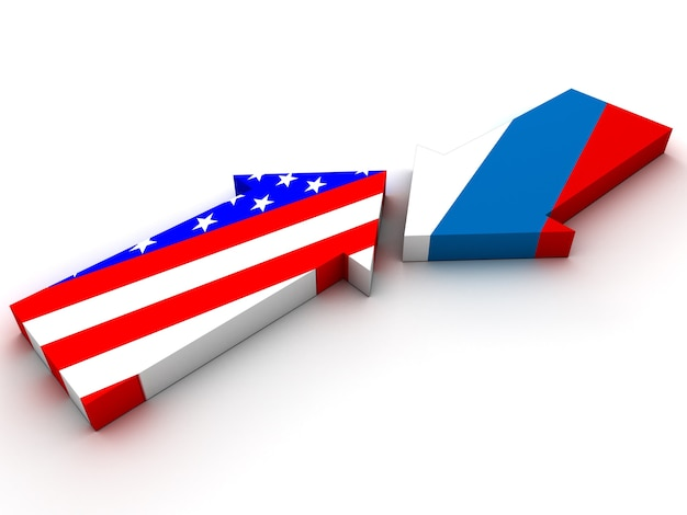 ロシアとアメリカの対立。 3dレンダリング
