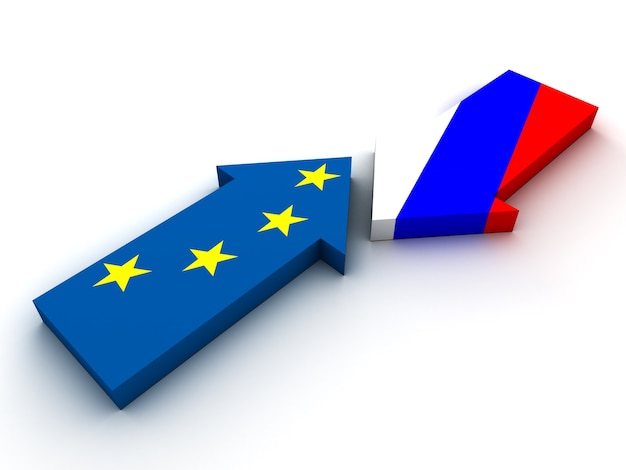 Confrontation between russia and european union. 3d render
