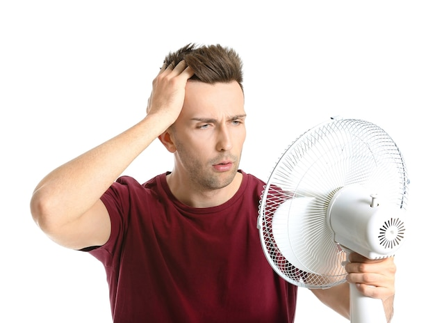 Confused man with electric fan on white background