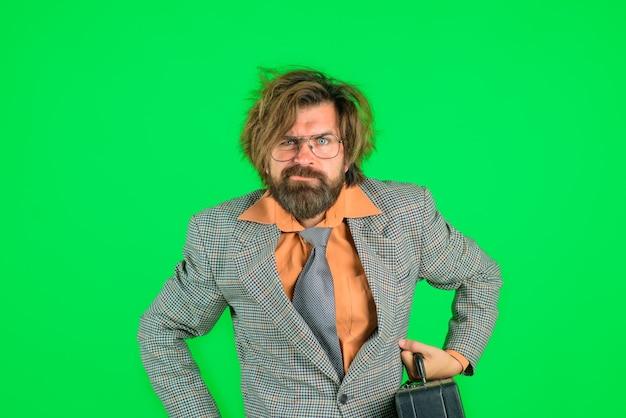 Confused teacher bearded teacher bearded man in suit education back to school portrait of male