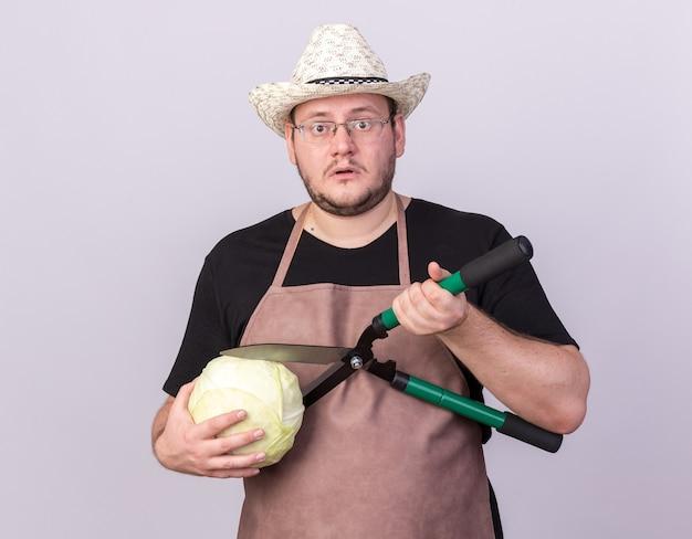 白い壁に隔離されたバリカンでキャベツを切る園芸帽子をかぶっている混乱した若い男性の庭師