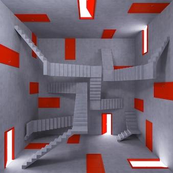 문과 계단으로 가득 찬 방의 혼란과 복잡성