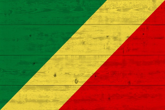 Congo flag painted on old wood plank