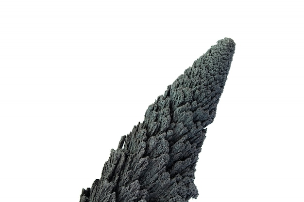 Conical volcanic rock isolate on white