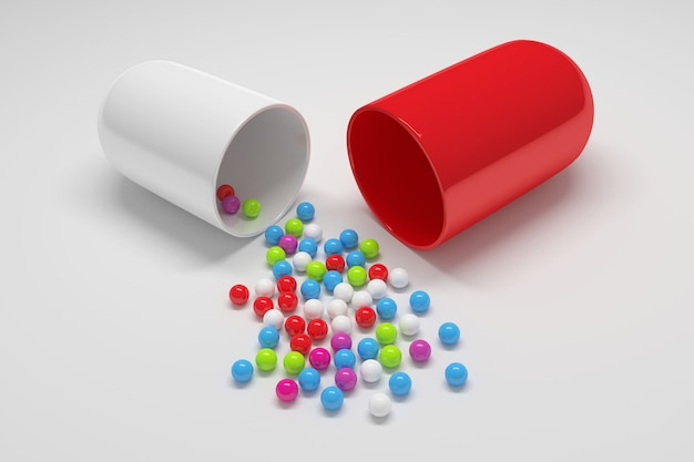Conlarge pill with filling small colorful balls.