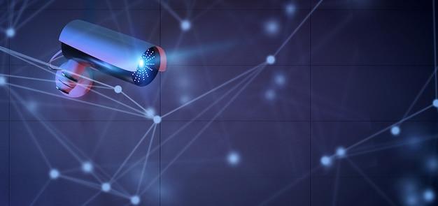 보안 cctv 카메라 시스템 이상의 연결-3d 렌더링