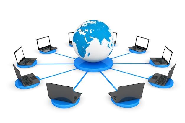 Подключитесь к концепции всемирной паутины. портативные компьютеры с земным шаром на белом фоне