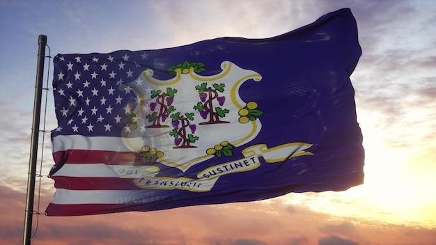 깃대에 코네티컷과 미국 국기입니다. 미국 및 코네티컷 혼합 플랙 손 흔드는 바람