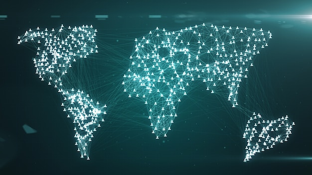 Connecting people on the internet, nodes transforming into the shape of a world map, social network connection 3d illustration