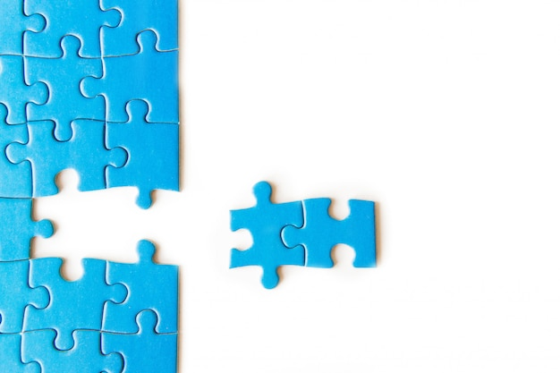Connecting piece jigsaw puzzle, business, success and strategy, education, society and tea