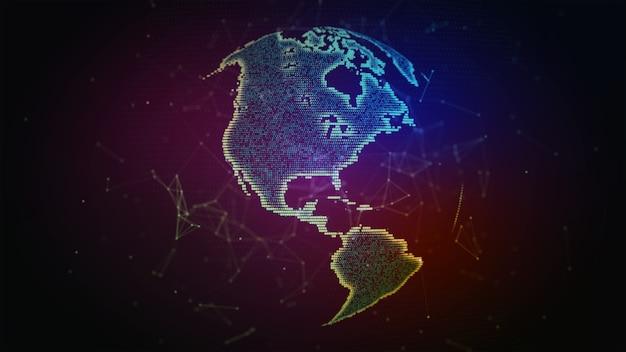 地球儀の周りの接続線グローバル国際接続背景3dイラスト