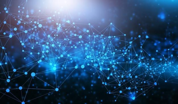 接続技術青い背景の未来的な多角形の技術