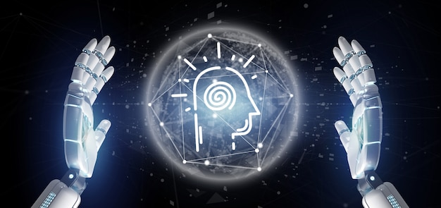 Conscious head icon on a color background