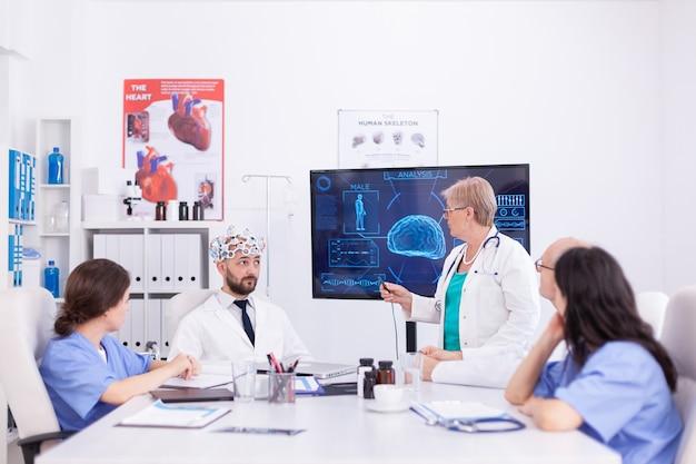 Доктор сознания носит гарнитуру с датчиками мозговых волн во время нейронауки. монитор показывает современное исследование мозга, в то время как группа ученых настраивает устройство.