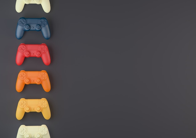 Console controllers of different colors on a gray background 3d