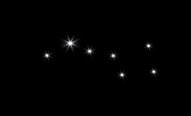 검은 공간에서 별자리 북두칠성