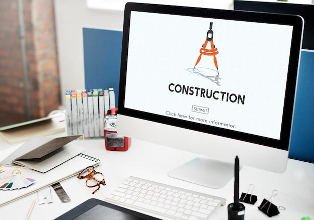 Concetto del sito del casco dell'elmetto protettivo di architettura della costruzione