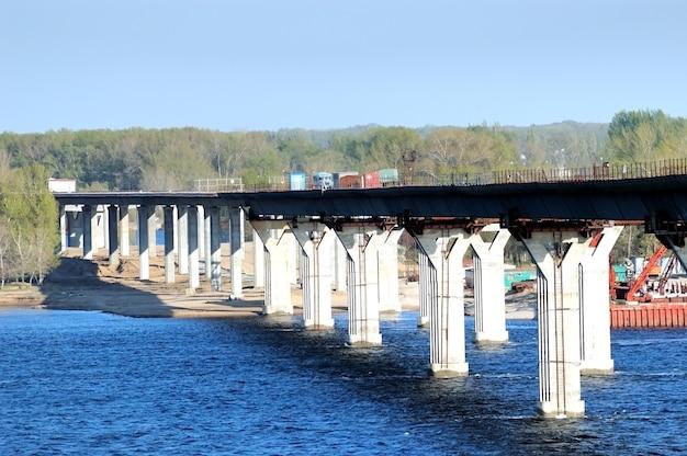 Construction of the bridge through the river volga russia volgograd