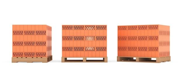 Концепция строительства. керамические кирпичи над европоддонами на белом фоне