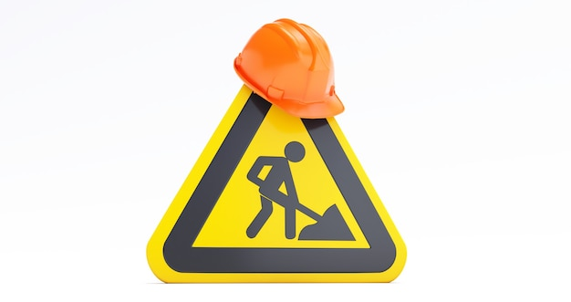 Under construction concept, construction site, helmet of security with under construction road sign. 3d render