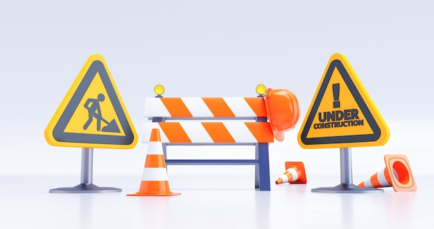 Under construction concept, construction site, road barrier with sign and cones. 3d render