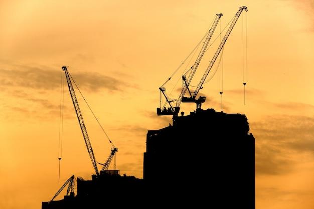 Construction crane silhouette