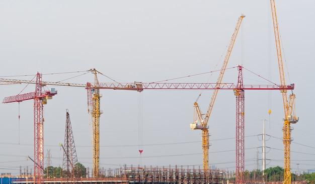 Construction cranes in building construction