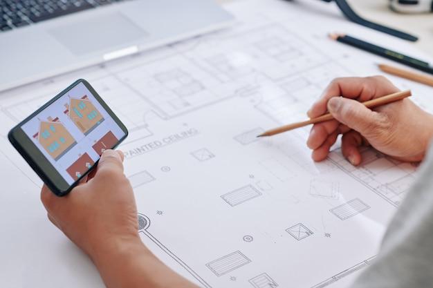 青写真を描く建設エンジニア